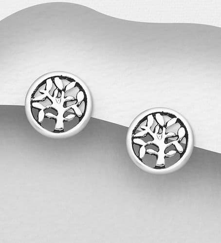 925 Sterling Silver Round Tree Of Life Stud Earrings